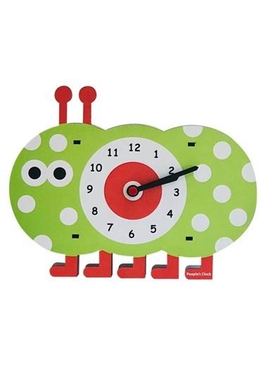 Peoples Clock Tırtıl Özel Tasarım Duvar Saati  Renkli